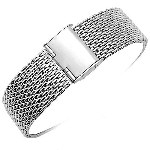YISUYA Milanese rete 22 mm, in acciaio INOX, con gancio e fibbia in argento lucido con orologio, 2,2 cm