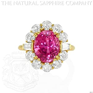 18K Yellow Gold, 5.87 Carat Unheated Oval Pink Sapphire and Diamond Ring. (J4651)