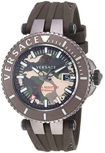 Versace-Mens-V-Race-Swiss-Quartz-Stainless-Steel-and-Silicone-Casual-Watch-ColorBrown-Model-VAK060016