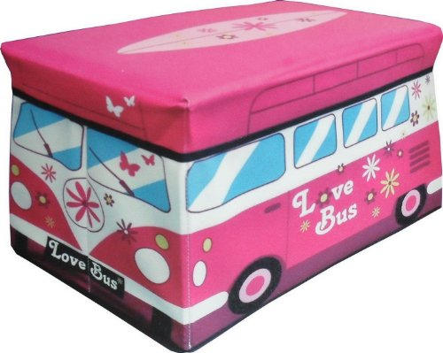 JUMBO TOY STORAGE CHEST AND PADDED TOP SEAT - CAMPER VAN DESIGN - 48CM X 30CM X 30CM by PAYLESS TRADING®