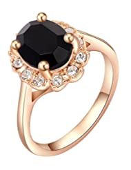 Kaizer Black Crystal 18k Gold Plated Stud Ring For Women