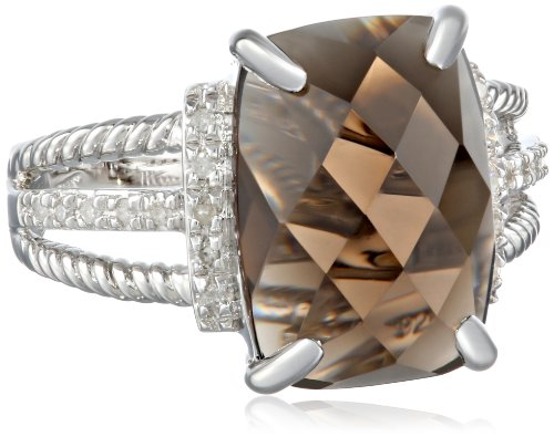 Sterling Silver Rope Smoky Quartz Diamond Ring (1/10cttw, I-J Color, I2-I3 Clarity), Size 7