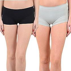 Mynte Women's Sports Shorts (MEWIWCMBP-SHR-100-98, Black, Grey, Free Size, Pack of 2)