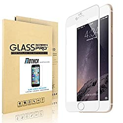 Carbon Fiber 3D Round Edge iPhone 6 Screen Protector, Drop Proof + Dust Proof + Anti Glare + Anti Fingerprint + 0.3mm Ultra Thin + Crystal Clear + 9H Hardness,HD Clear Ballistic Glass Tempered Glass (iPhone 6 white)