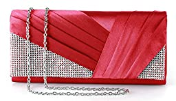 Yuenjoy Womens Shiny Crystal Rhinestone Pleated Satin Evening Clutch Bags (Red)