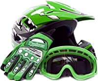 Youth Offroad Gear Combo Helmet Gloves Goggles DOT Motocross ATV Dirt Bike MX Motorcycle Green (X-Large) from Typhoon Helmets