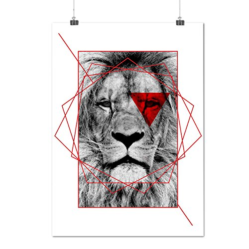 geometrico Leone Reale Rosso Opaco/Lucida Poster A2 (60cm x 42cm) | Wellcoda