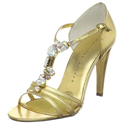Martinez Valero Women's Celine T-Strap Sandal,Gold,9.5 M US