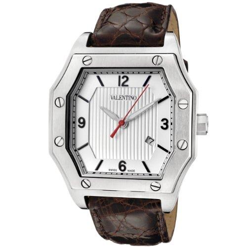 Valentino Men's V39LBQ9902-S497 Prestige Silver Textured & White Dial Brown Crocodile Watch