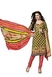 DARPAN TEXTILES Ethnicwear Women's Dress Material(AROMACIFON3127_Green_Free Size)