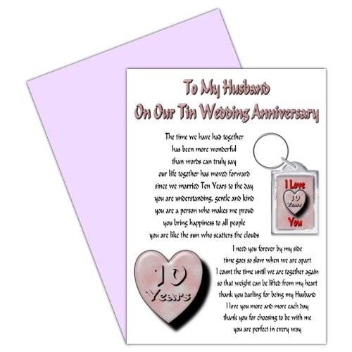 Husband 10th Wedding Anniversary Card With Removable Keyring Gift - 10 Years - Our Tin Anniversary