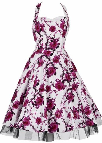 Ladies 40&#8242;s 50&#8242;s Vintage Style Pink Rose Rockabilly Jive Swing