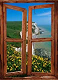 PEEL & STICK OPEN WINDOW SHUTTER SEASCAPE SCENE. VIEW OF THE WHITE CLIFFS OF DOVER. ILLUSION WINDOW MURAL