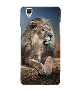 Lion Design 3D Hard Polycarbonate Designer Back Case Cover for Oppo F1