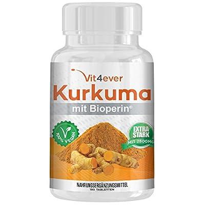 Kurkuma 180 Tabletten 1400mg mit Bioperin, Curcuma Curcumin Turmeric