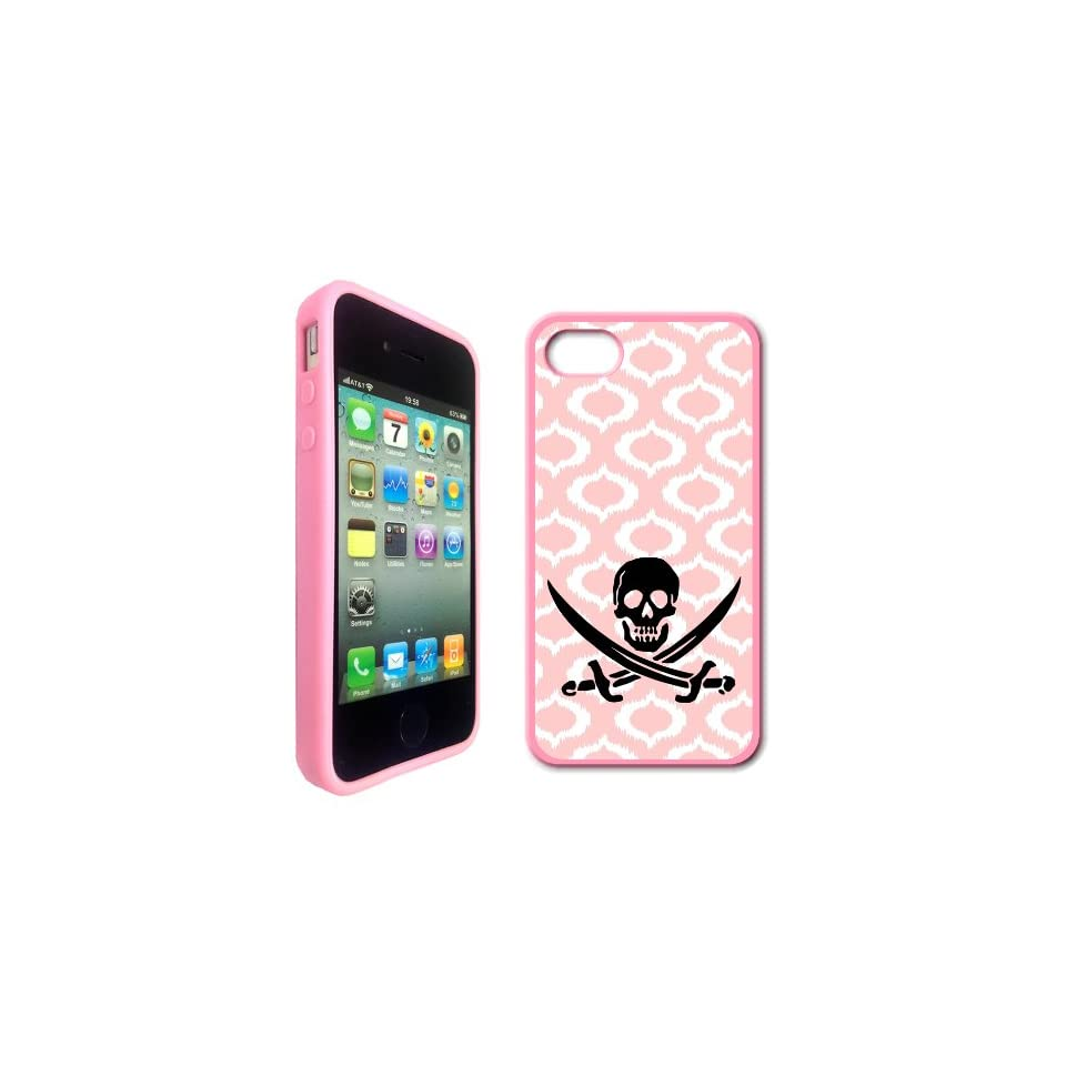 Jolly Roger Pirate Baby Pink Ikat Hipster Pink Silicon Bumper iPhone 4 Case Fits iPhone 4 & iPhone 4S Cell Phones & Accessories
