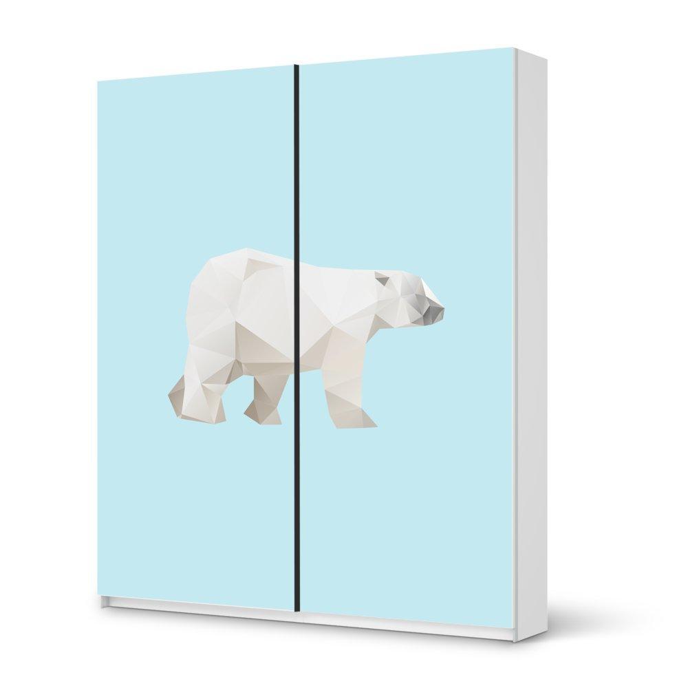 Folie IKEA Pax Schrank 236 cm Höhe – Schiebetür / Design Aufkleber Origami Polar Bear / Dekorationselement günstig online kaufen