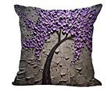 "3D Colorful Painting Tree Patter Cotton Linen Decorative Throw Pillow Case Cushion Cover Abstract Painting 18 ""X18 "" Purple & Gray"