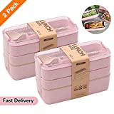 2 PACK Bento Box Japanese Lunch Box, 3-In-1 Compartment, Wheat Straw, Leak-proof Eco-Friendly Bento Lunch Box Meal Prep Containers for Kids and Adults (Pink) (Color: 2pcsPink, Tamaño: 2 pack)