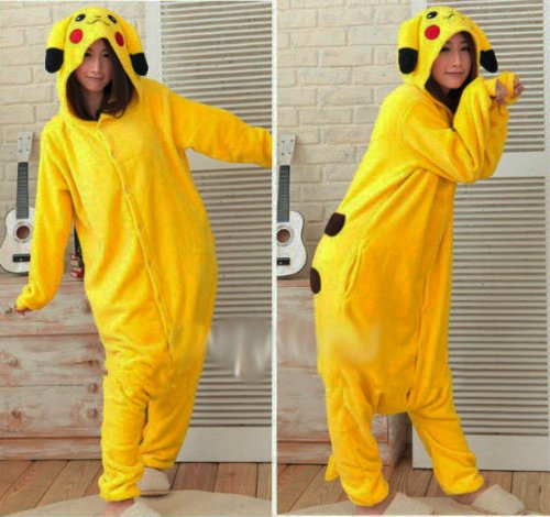 Winter Pikachu Pajamas Cosplay Costume Footed Sleepwear For Women Men
