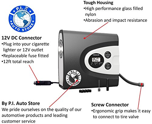 P.I. Auto Store Premium Digital Tyre Inflator - Electric 12v DC Portable Auto Air Compressor. Pump to 150 Psi. With Carry Case