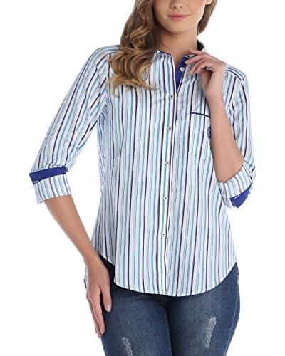 SIR RAYMOND TAILOR Camisa Mujer Turquesa / Blanco