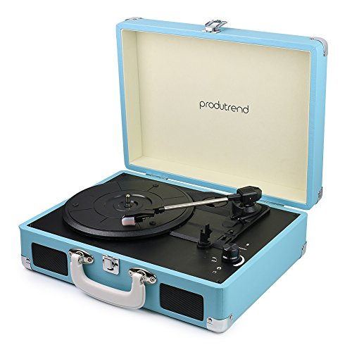 ProduTrend VinylPal Portable Record Turntable Suitcase w/ Built-In Battery (Vintage Portable Record Player compare prices)
