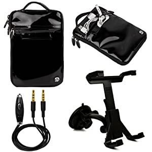 "(Black) VanGoddy Hydei Patent Leather Bag Case for RCA / SVP 7"" Tablet + Windshield Mount + Auxiliary Cable at Electronic-Readers.com"