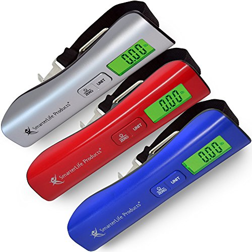 SALE -- Digital Luggage Scale For Weighing Checked Baggage for Air Travel - Large LED Display - Fast Audible Weight Lock, Very Accurate - Battery, Storage Pouch, Bonus eBook (Sunset Red) (Dial Aaa Battery Storage Box compare prices)