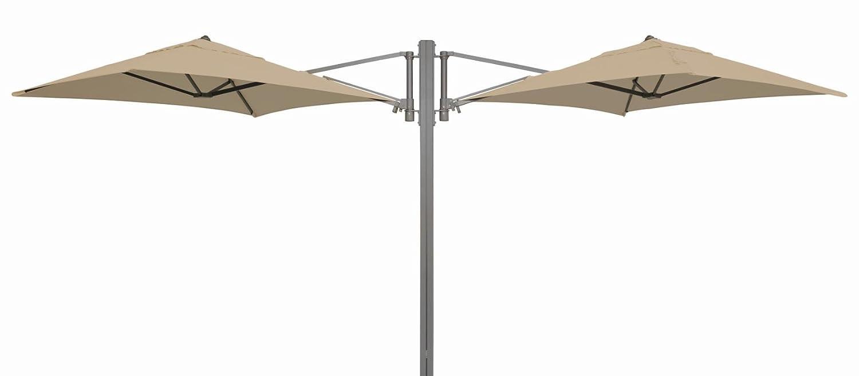 """Madison Gastronomie Gartenschirm """"Murano II"""" mit zwei separat verstellbaren Schirmen in natur – ecru, UV-Schutz 40 Plus jetzt kaufen"""