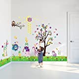Walplus DF5099 Happy Animals Plus WS3026 Owl Tree Star Plus AY763 Little Chick Grass Wall Sticker Combo Pack, Multi-Colour