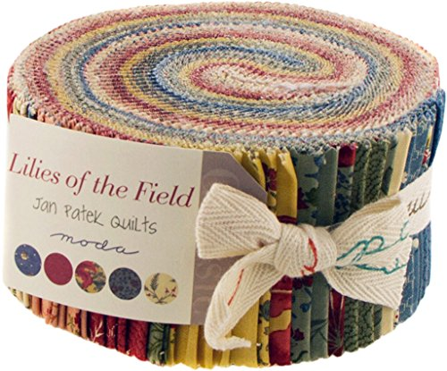 Lilies of the Field by Jan Patek Quilts Moda Jelly Roll, Set of 40 2.5x44-inch (6.4x112cm) Precut Cotton Fabric Strips