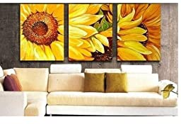 XM Art-100% Hand Painted Oil Painting 3 Piece Canvas Art Modern Wall Art Deco Home Decoration Group Paintings Artwork Yellow Sunflower Framed and Stretched,Ready to Hang 40*60cm