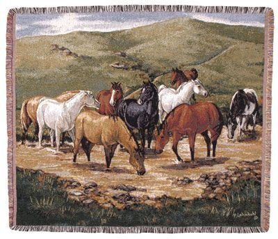 "Cripple Creek Remunda Horse Scene Tapestry Throw 50"" X 60"""