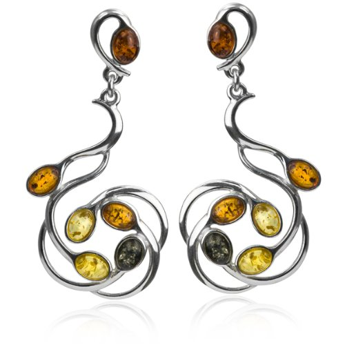 Multicolor Amber and Sterling Silver Large Earrings