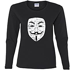 Guy Fawkes Mask Missy Fit Long Sleeve T-Shirt