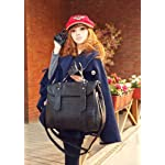 New Fashion Korean Lady Women Black Grid PU Leather Vintage Single Handle Satchel Handbag Purse Hobo Tote Bag