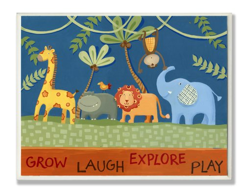 The Kids Room by Stupell Grow, Laugh, Explore, Play with  Jungle Animals Rectangle Wall Plaque