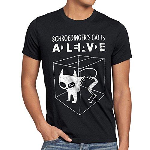 style3 Gatto di Schrödinger T-shirt da uomo, Dimensione:M;Colore:Nero
