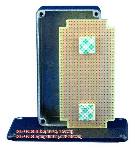 Kit-1590B Box+Pcb, Black Diecast Aluminum Box, With Pr1590B Pcb, Box = 4.4 X 2.3 X 1.1 In