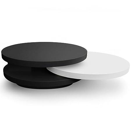 Menzzo QJ094 Contemporain Gala Table Basse Plateaux Tournants Bois Laqué Noir/Blanc 80/61 x 95/159 x 31 cm
