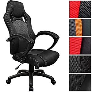 fauteuil de bureau noir baquet voiture de sport cuisine maison. Black Bedroom Furniture Sets. Home Design Ideas