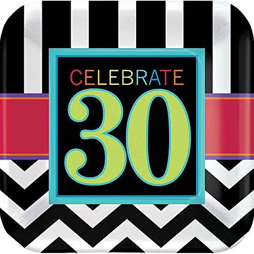 Amscan Trendy Square Plate with 30th Celebration Theme, Black/White/Red/Cyan Blue/Green, 7""