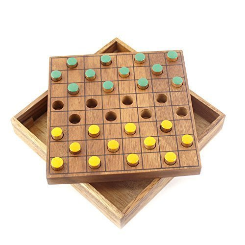 BRAIN GAMES Checkers Colored Wooden Board Game (Small)