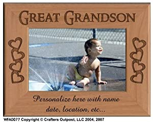 Grandson with Hearts Personalized Alder Wood Photo Frame