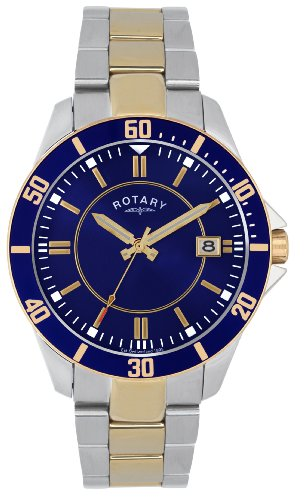 Rotary Timepieces Men's Quartz Watch with Blue Dial Analogue Display and Silver Stainless Steel Bracelet GB02801/05