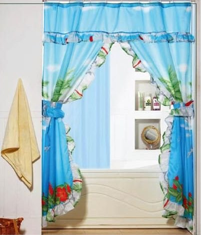 Shower Curtains With Valance And Tiebacks.Tropical Palm Tree Double Swag Valance Tie Backs Liner