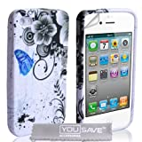 iPhone 4 / 4S Grey And Blue Floral Butterfly Silicone Caseby Yousave Accessories