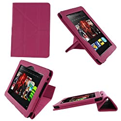 rooCASE Origami Dual-View (Magenta) Vegan Leather Folio Case Cover for Amazon Kindle HD 8.9 Inch Tablet - Support Landscape / Portrait / Typing Stand - Support Landscape / Portrait / Typing Stand / Auto Sleep and Wake (NOT Compatible with Fire HD 7-Inch)