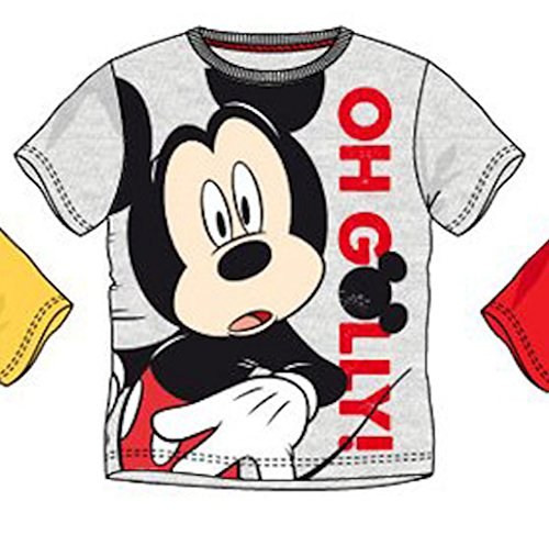 Disney-Mickey-Mouse-T-Shirt-en-varios-colores-amarillo-rojo-gris-tamao-98-104-116-128
